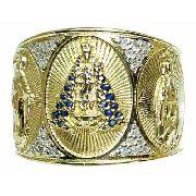 Anel De Ouro 18k750 Diamantes E Safiras Azuis 802