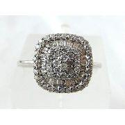 Anel De Ouro Branco 18k Pave Diamantes 804