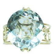 Anel Ouro 18k750 Topázio Azul 12x S/j Ft/gt 2660
