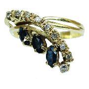Anel Ouro 18k Diamante Safira 12x S/j Ft/gt 2664