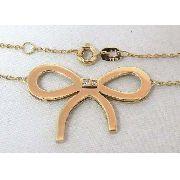 Colar De Ouro 18k750 Laço Diamantes C62