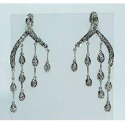 Brincos De Ouro Branco 18k750 Diamantes B672