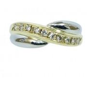 Anel De Ouro 18k750 Diamantes 12x S/j Ft/gt 2696
