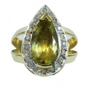Anel De Ouro 18k750 Green Gold 12x S/j Ft/gt 2687