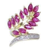 Anel De Ouro 18k750 Rubis Diamantes 2945
