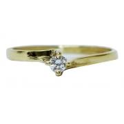 Anel De Ouro 18k 750 Diamante 2919