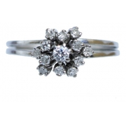 Anel De Ouro Branco 18k 750 Diamantes 2901