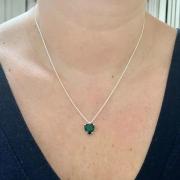 Colar De Prata 925 Maciça Com Pedra Coração Verde Escuro