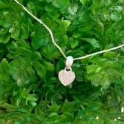 Lindo Colar De Prata 925 Maciça Coração Pedras Brancas