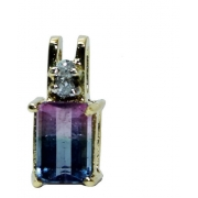 Pingente De Ouro 18k750 Diamantes Fluorita P789