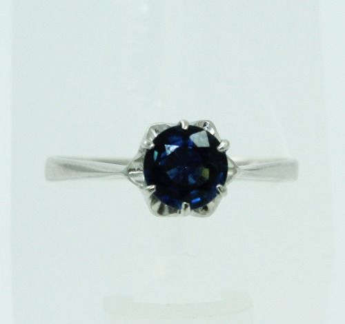 Anel De Ouro Branco 18k750 Safira Azul 2278
