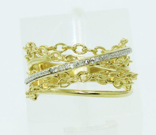Anel De Ouro 18k750 Diamantes 2296