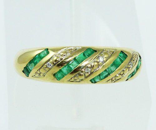 Anel De Ouro 18k750 Diamantes Esmeralda 2178