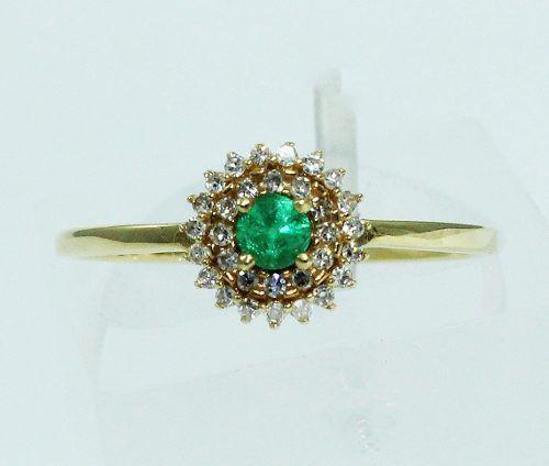 Anel De Ouro 18k750 Diamantes Esmeralda 1688
