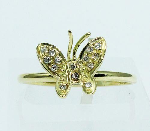 Anel De Ouro 18k750 Borboleta Diamantes 1681