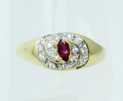 Anel De Ouro 18k750 Diamantes Rubi 2303