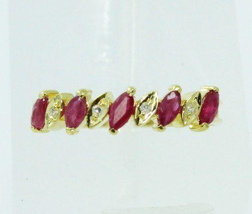 Anel De Ouro 18k750 Diamantes Rubis 2299