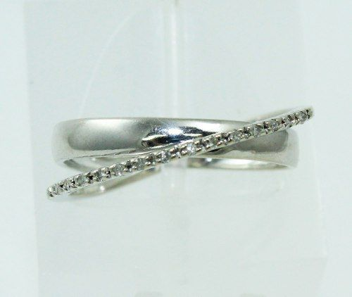 Anel De Ouro Branco 18k750 Diamantes 2309