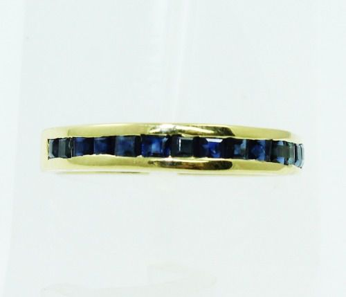 Anel De Ouro 18k750 Safira Azul 2313