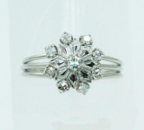Anel De Ouro Branco 18k750 Diamantes 2318