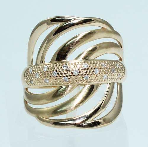 Anel De Ouro Rose 18k750 Diamantes 1624