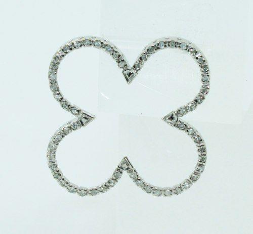 Pingente Ouro Branco 18k750 Trevo Diamantes P673