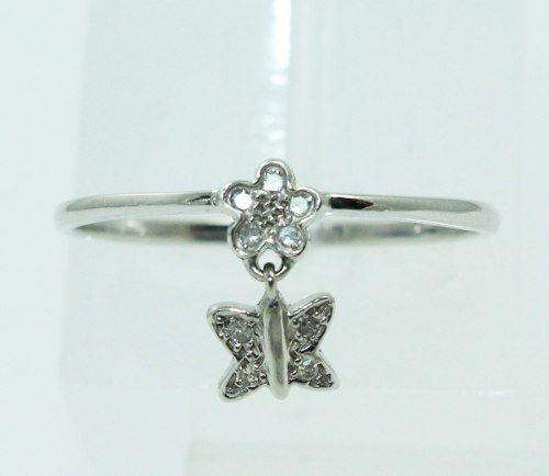 Anel De Ouro Branco 18k750 Pingente Diamante 2331