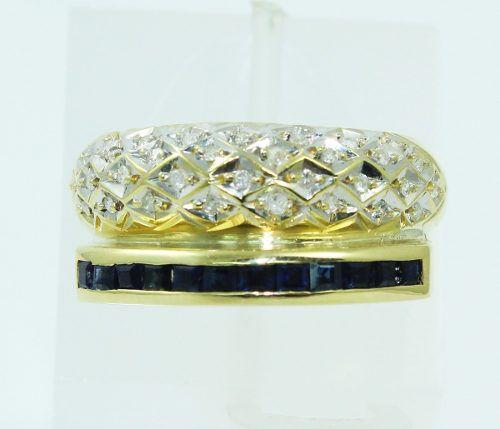 Anel De Ouro 18k750 Diamantes Safira 2327