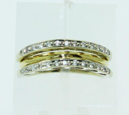 Anel De Ouro 18k750 Misto Diamantes 2328