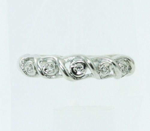 Anel De Ouro Branco 18k750 Diamantes 2333