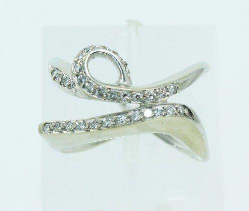 Anel De Ouro Branco 18k750 Diamantes 2335