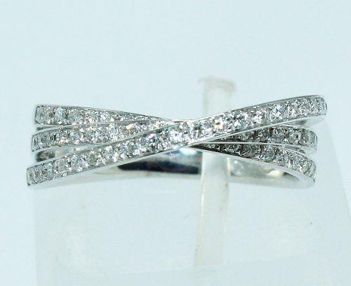 Anel De Ouro Branco 18k750 Diamantes 1598