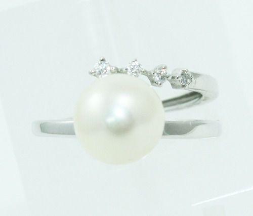 Anel De Ouro Branco 18k750 Pérola Diamantes 2337