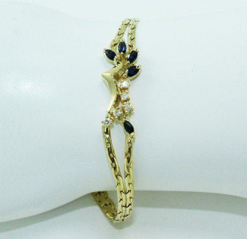 Pulseira De Ouro 18k750 Diamantes Safira Pu81