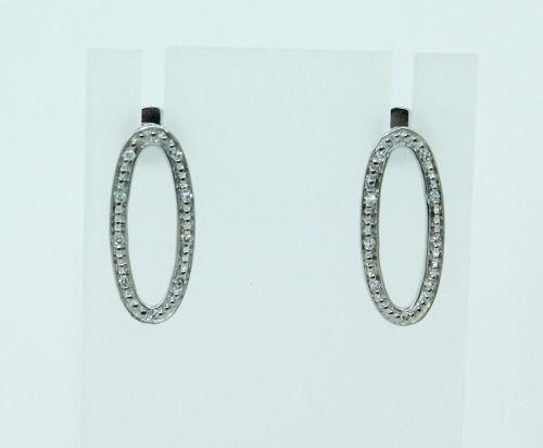 Brincos De Ouro Branco 18k750 Diamantes B834