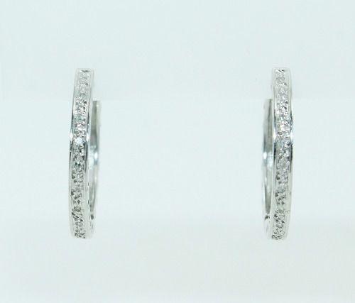 Brincos De Ouro Branco 18k750 Diamantes B836