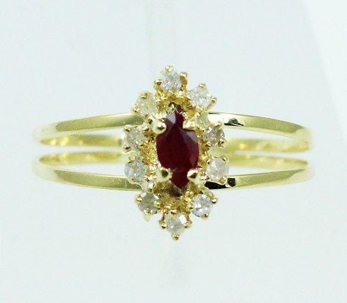 Anel De Ouro 18k750 Diamantes Rubi 1554