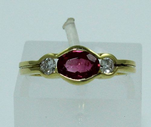 Anel De Ouro 18k750 Diamantes Rubelitas 1535