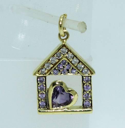 Pingente Ouro 18k750 Diamantes Casa P488
