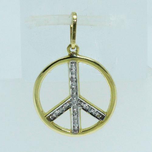 Pingente Ouro 18k750 Diamante Simbolo Da Paz P487