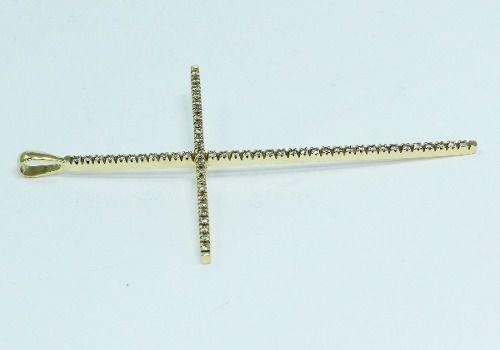 Pingente De Ouro 18k750 Cruz Diamantes P474