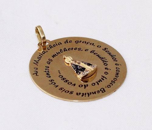 Pingente De Ouro 18k750 N.senhora Diamantes P472