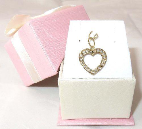 Pingente De Ouro 18k750 Coração Diamantes P329
