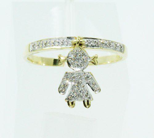 Anel De Ouro 18k750 Diamantes Pingente 2347