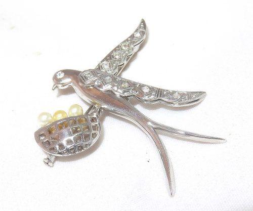 Pingente Broche Ouro 18k750 Vintage Diamante P315