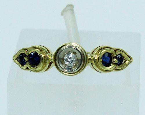 Anel De Ouro 18k750 Diamantes Safira Azul 1530