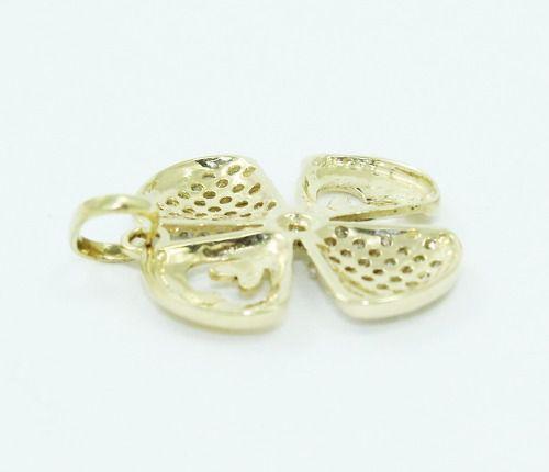 Pingente De Ouro 18k750 Trevo Diamantes P675