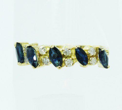 Anel De Ouro 18k750 Diamantes Safiras 2343
