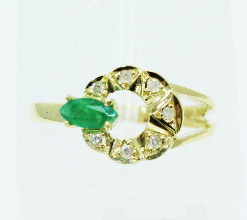 Anel De Ouro 18k750 Diamantes Esmeralda 2344