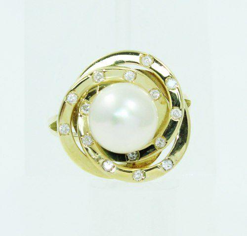 Anel De Ouro 18k750 Diamantes Pérola 2345